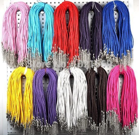 Wholesale-Bulk / Lot Großhandel 20pc Hand gemacht Braid Seil Kunstleder PU Halskette Cords 43cm