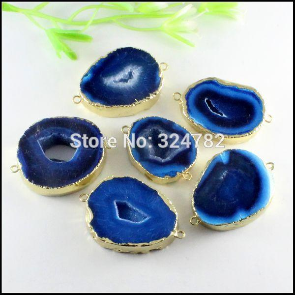 3 unids Tono Dorado Cuarzo Azul Naturaleza Druzy Geode Ágata Rebanada gema piedra Drusy Connector Pendant Beads for Pulsera Joyas hallazgos