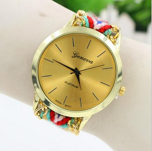 13 colores Ginebra relojes tejidos Las mujeres tejen trenzado hecho a mano Reloj pulsera de la cuerda Relojes Para las mujeres vestido de las señoras Reloj de pulsera