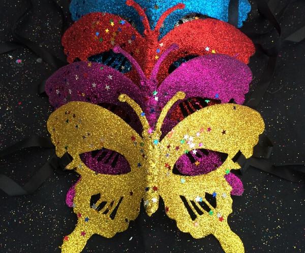 maschera sexy delle donne / ragazze Masquerade Mask paillettes Polvere d'oro Venus farfalla Party Mask Maschera veneziana Mardi Gras Mask 100pcs / lot