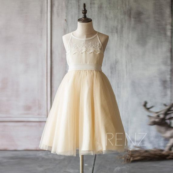 2018 Beige White Junior Bridesmaid Dress, Spaghetti Strap Mesh Chiffon Flower Girl Dress, a line Baby dress tea length