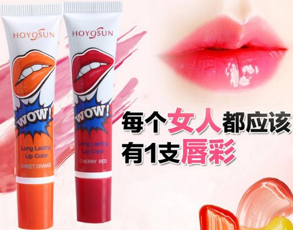 Impermeables a prueba de besos color de la mancha de brillo de labios Romántico oso Peel off máscara de larga duración labios lápiz labial maquillaje herramientas 6colors envío de la gota