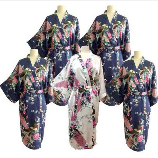 Atacado-New Robes De Casamento De Seda Roupão De Banho Das Mulheres Robes De Seda Para As Damas De Honra Roupão De Banho Longo Kimono Roupão Peignoir Femme Damas De Honra