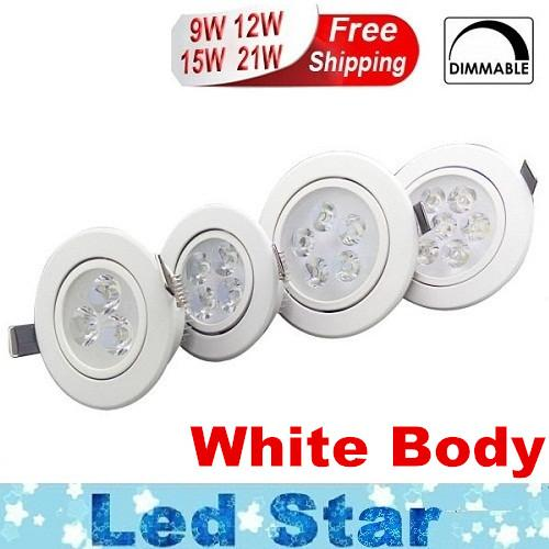 best selling White Silver Dimmable 9W 12W 15W 21W Led Down Lights High Power Led Downlights Recessed Ceiling Lights CRI>85 AC 110-240V With Power Supply