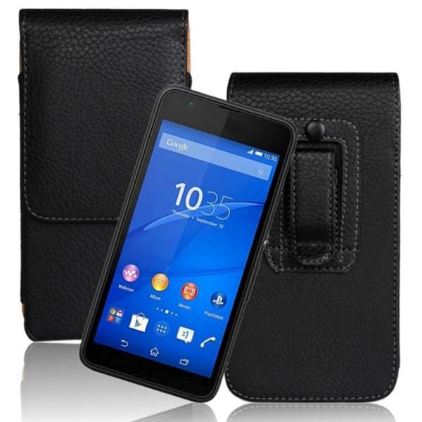 Suave / Lichee Patrón Vertical Flip PU Funda con clip para cinturón de cuero para Sony Xperia E4g E2003 Bolsas para teléfonos
