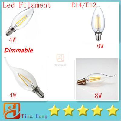best selling LED Candle Lamp C35 C35T COB filament bulb chandelier 2700K 6500K 4W 8W 12W E14 E12 base 110V 220V AC 110 LM W