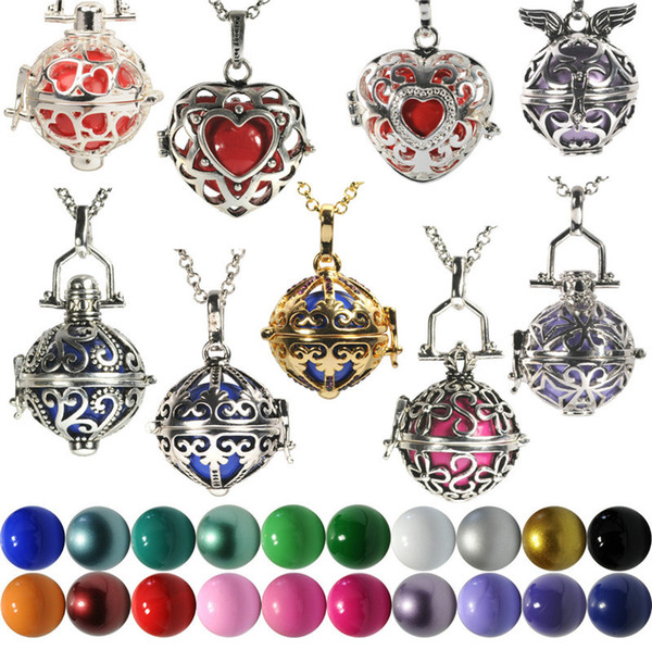 2016 New Hot Pregnant Bola Ball Jewel Case Pendant & Chain Angel Caller Necklace Soft Chime Musical Bell Necklace Including Ball 8 Styles