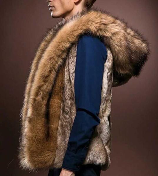 Wholesale- 2017 New Fashion Winter Men Males Fur Vest Hoodie Hooded Thick Fur Warm Waistcoats Sleeveless Coat Outerwear Male Jackets
