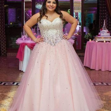 2019 Plus Size Banquet Sweety Charming Prom Dresses A Line Sweetheart  Backless Sleeveless Beaded Luxurious Dress Custom Made Prom Dresse S Prom  ...
