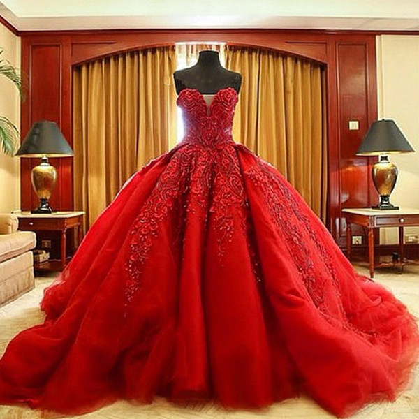 top popular Michael Cinco Luxury Ball Gown Red Wedding Dresses Lace Top quality Beaded Sweetheart Sweep Train Gothic Wedding Dress Civil vestido de 2021