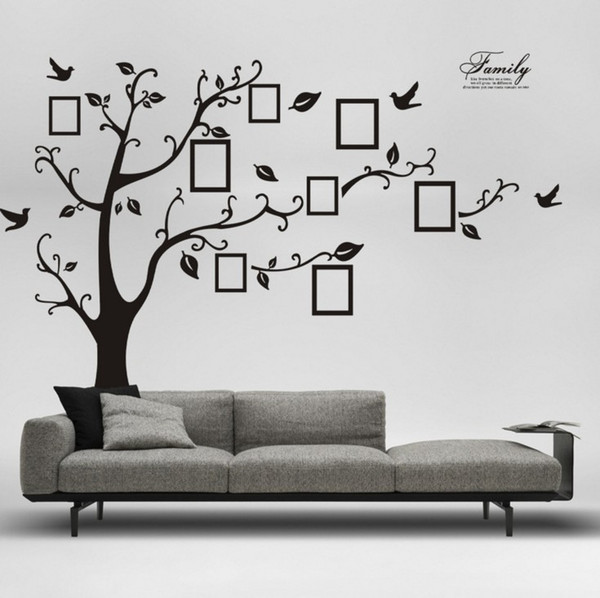 best selling Free Shipping:Large 200*250Cm 90*120in Black 3D DIY Photo Tree PVC Wall Decals Adhesive Family Wall Stickers Mural Art Home Decoration