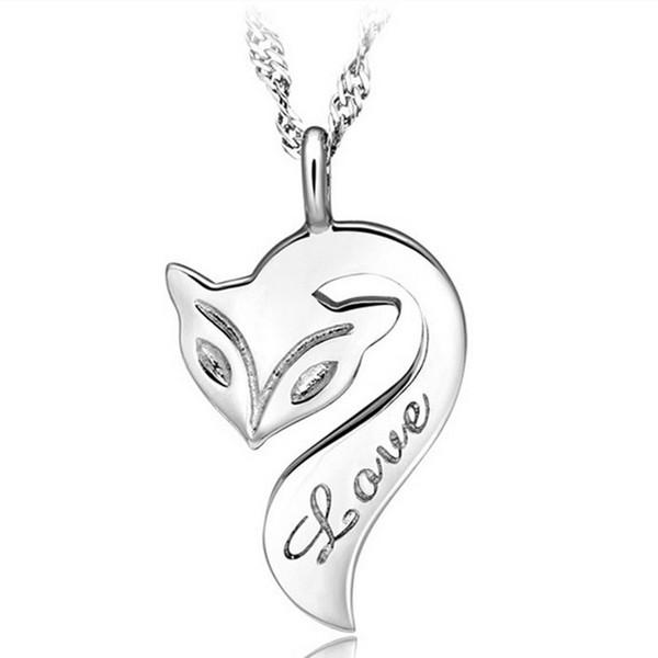 Fashion Lady gioielli in argento sterling 925 animale Firefox Fox Love Letter Collana pendente per le donne regalo