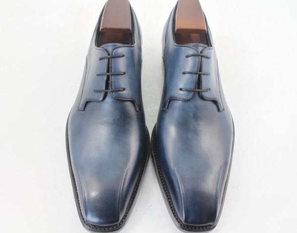 Zapatos de vestir para hombres Zapatos Oxford Zapatos con punta cuadrada para hombres Zapatos hechos a mano personalizados Cuero de becerro genuino color azul marino HD-N146