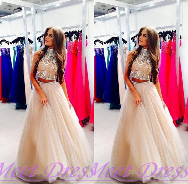 Pink High Neck Beaded Prom Dresses 2018