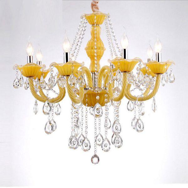 Modern fresh lemon yellow crystal chandelier 6 8 arms pendant lights E14 bulb lighting fixture lustre cristal luminaire for dinning room