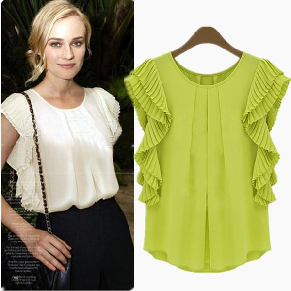 044786411d56fd Newest Summer Women Chiffon Blouses Cheap Loose Shirts Short Sleeve Pleats Crew  Neck Fashion Short Shirts