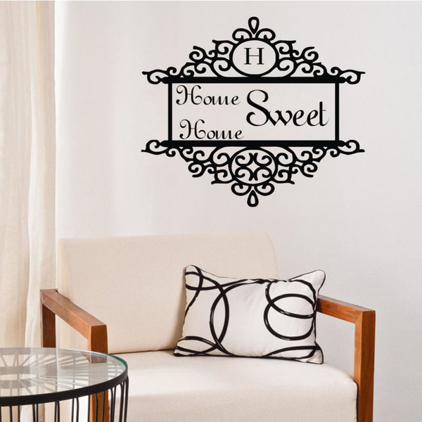 Home Sweet Home Wall Decals Vinyl Door Decorative Sticker Floral Pattern Wall Stickers Design