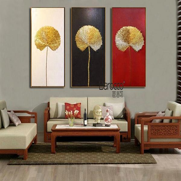 3 Pieces Hand Painted Golden Leaves Oil Painting Modern Simple Home Wall Decoration Gift No Framed