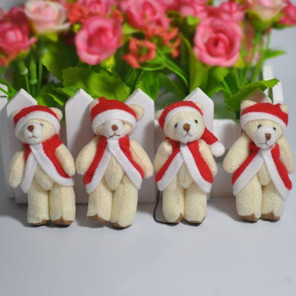 Bulk 6 cm de dibujos animados pequeño oso de peluche de Navidad con arco y correa muñecas de oso de peluche para juguetes blandos regalo de Navidad 100 unids / lote