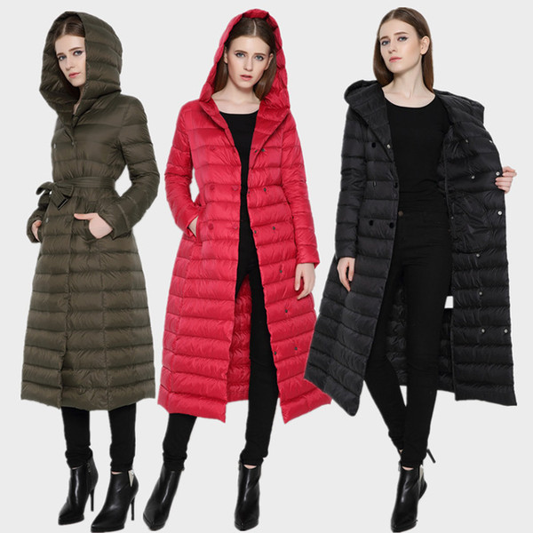 New women extra down long or middle coat winter brand high-knee ultra-thin slim womens down coats female lightweight hooded jacket woman
