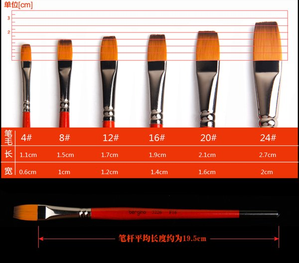 Wholesale-Free Shipping Flat head Nylon Gouache brushes Acrylics brushes oil painting Drawing brush pen Artist brush