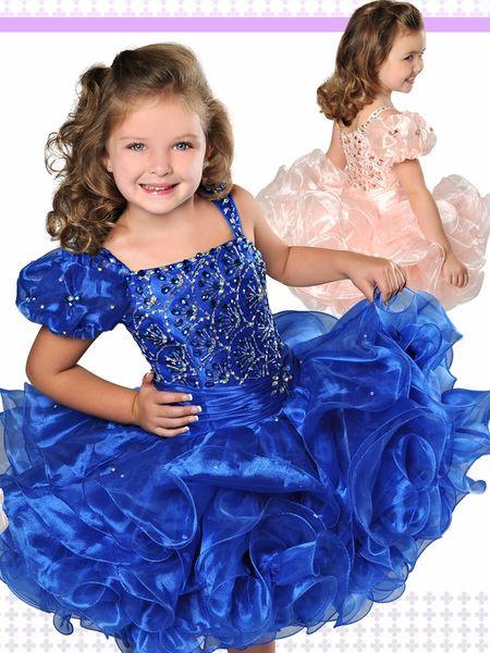 파란색 작은 소녀 미인 드레스 드레스 2019 유아 어린이 공 가운 Glitz 꽃 소녀 드레스 결혼식 파란색 된 크기 Organza 연령 크기 4 6 8