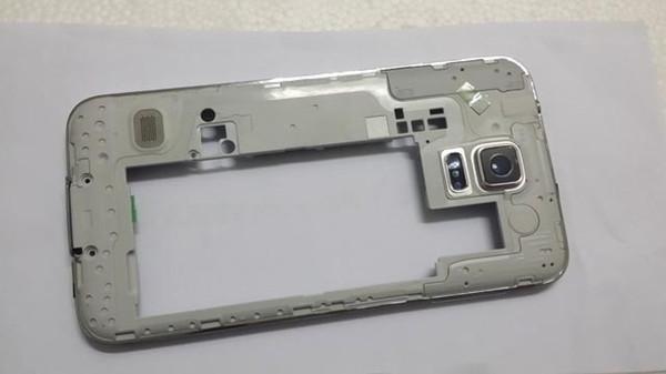 Envío gratis Original Middle Cover + Lente de la cámara para SM-G900T Galaxy S5 Chasis medio Chassis Middle Housing Blanco