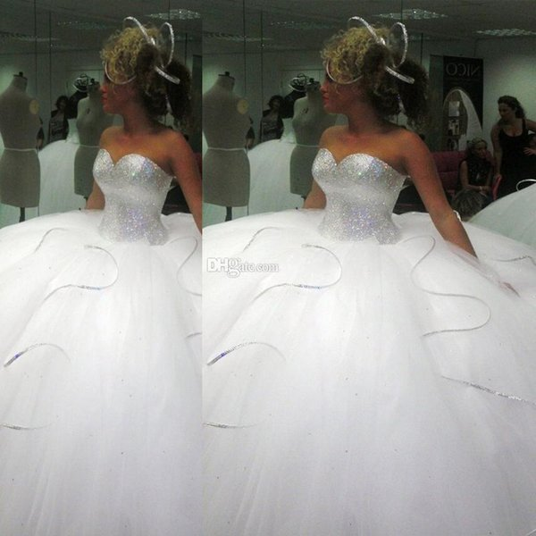 2016 Bling Big Poofy Wedding Dresses Custom Made Plus Size Tulle 2015 Ball Gown Beads