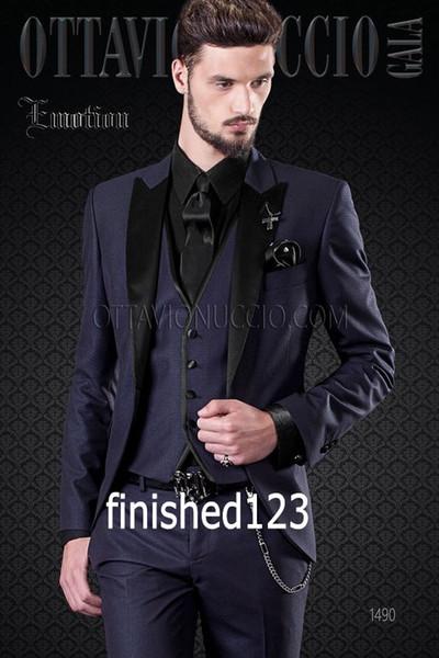 Klasik Stil Bir Düğme Lacivert Damat Smokin Tepe Yaka Groomsmen Best Man Blazer Erkek Düğün Takımları (Ceket + Pantolon + Yelek + Kravat) H: 638