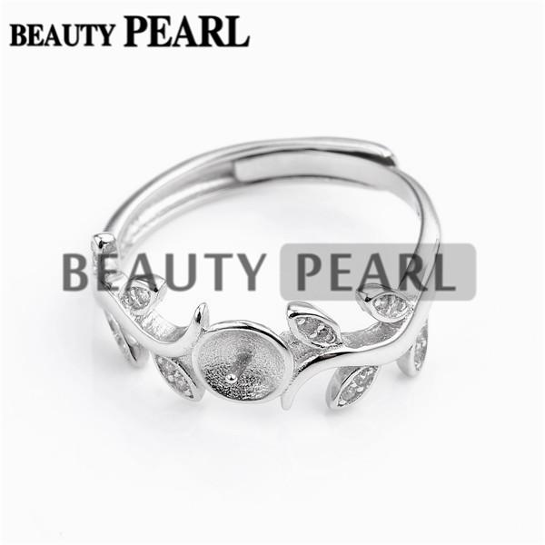 HOPEARL Jewelry Ring Findings Leaves Design Zircon 925 Sterling Silver for DIY Jewellery Making 3 Pieces