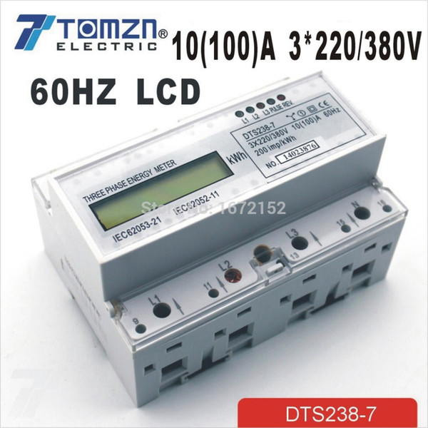 Wholesale-10(100)A 3*220V/380V 60HZ three phase Din rail KWH Watt hour din-rail energy meter LCD