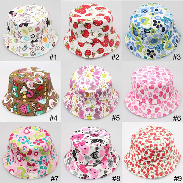 best selling 36 Color Children Bucket Hat Casual Flower Sun Printed Basin Canvas Topee Kids Hats Baby Beanie Caps B001