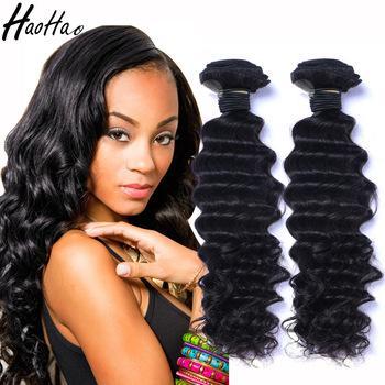 Глубокая волна или волна воды Малайзийские пучки волос Реми человеческих волос естественный цвет # 1B девственницы дешевые необработанные волосы утка