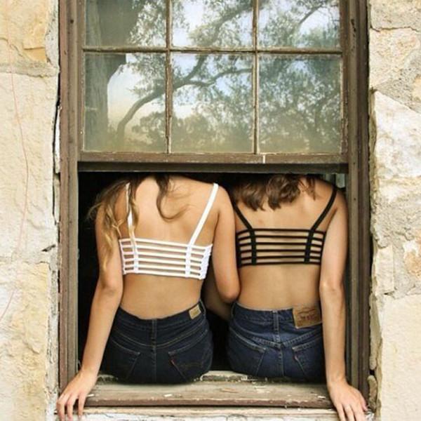 top popular New Sexy Crop Tops Women Strap Blouse Vest Cut Out Shirt Summer Beach Tank Dave 2020