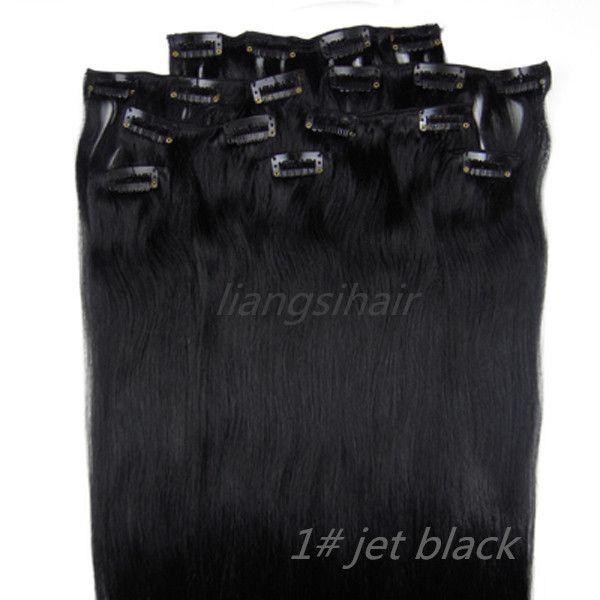 "Brazilian Hair 18""-26"" 8pcs 1# Jet Black wholesale 4 sets Clip in Hair Brazilian Indian Peruvian Malaysian Virgin Remy Human Hair Extensions"