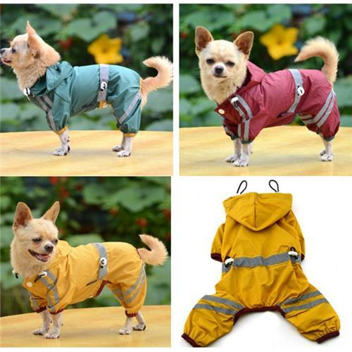 New Reflective Water-proof Four-Legged Dog Raincoat Clothes 3 colours 6 sizes