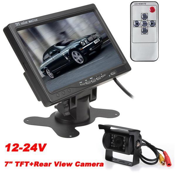 12-24V 7 Inch TFT LCD Color Display Screen 2 Video Input Car Rear View DVD VCR Monitor+IR Reversing Backup Car Camera for Bus Van Long Truck