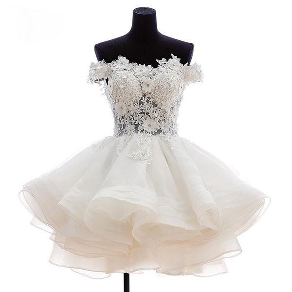 best selling 2019 New Lovely Short Homecoming Dresses Sweetheart Flowers Organza Graduation Dresse Party Prom Formal Gown WD179