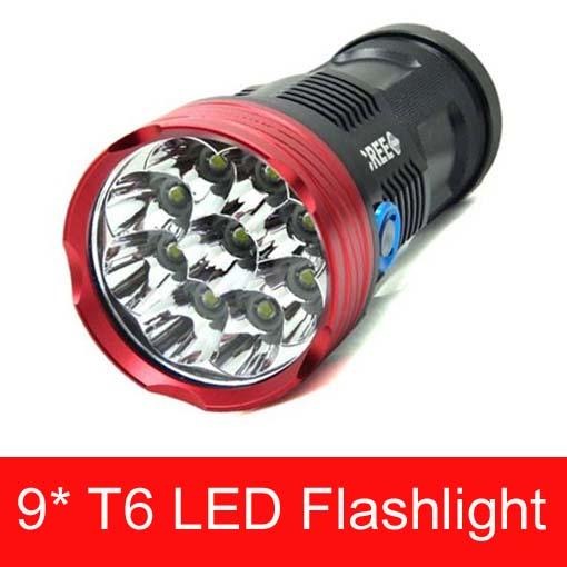 Free Epacket,2015 NEW SKYRAY King 15000LM 9xCREE XML T6 LED Flashlight Torch Tactical Hunting Work Lamp