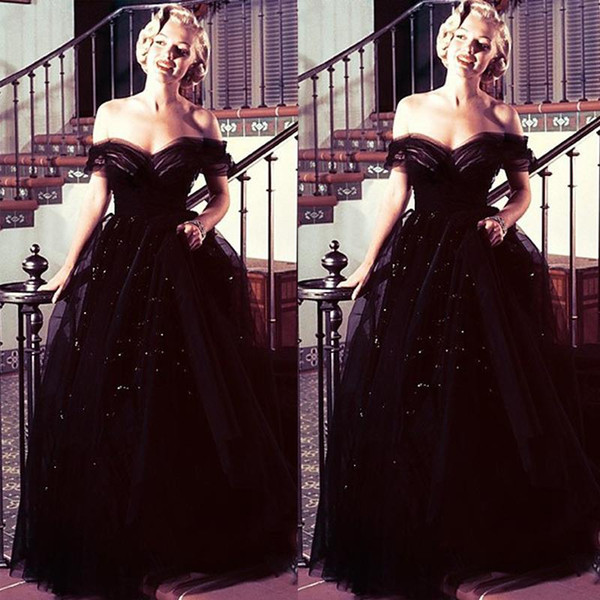 Marilyn Monroe oscars preto Do Vintage Off Shoulder Árabe À Noite Vestidos de Baile Vestidos de Baile Tule Lantejoulas Nova Chegada Celebridade Vestidos de Festa