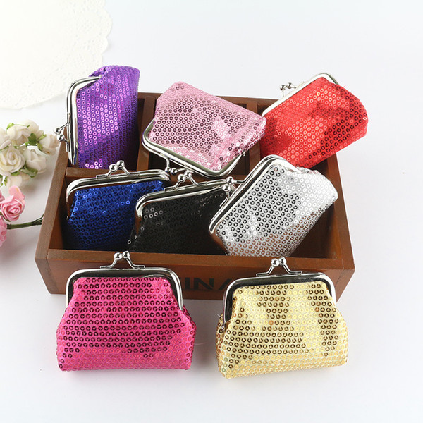 NEW fashion womens mini coin wallet kids change purse Sequins candy-colored shiny coin purse bag gift 12pcs/lot 1933