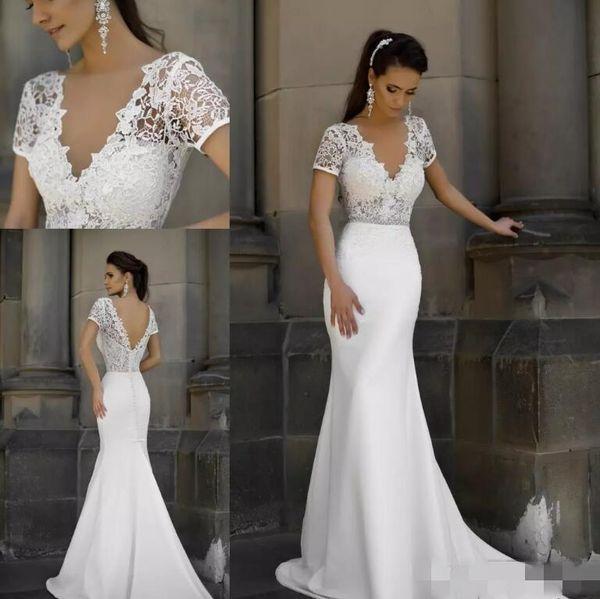 Milla Nova 2018 Short Sleeves Mermaid Wedding Dresses Deep V Neck Sexy Backless Long Bridal Gowns Lace Satin Long Beach Wedding Gowns