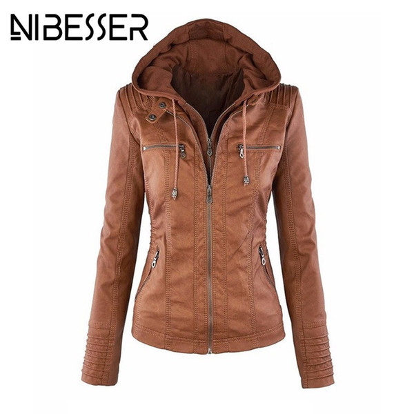 Wholesale- NIBESSER Faux Leather Jacket Women Autumn Winter 2017 Long Sleeve Hooded PU Jacket Coats Motorcycle Overcoats Plus Size 5XL Z30