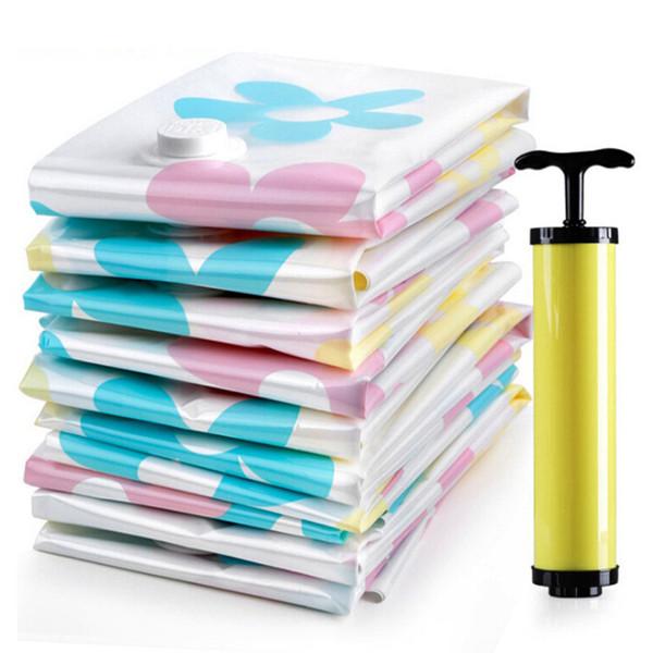 11pcs/set Thickened Vacuum Storage Bag Vacuum Compressed Bag with Hand Pump Reusable Blanket Clothes Quilt Storage Bag Organizer