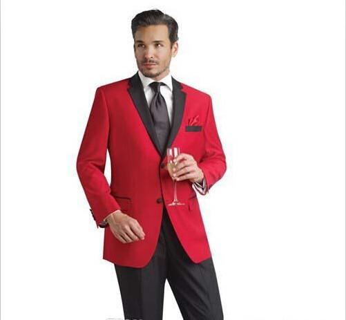 Red Jacket And Black Pants Groom Tuxedos Groomsmen Men's Wedding Suits Best Man Suits Prom Clothing