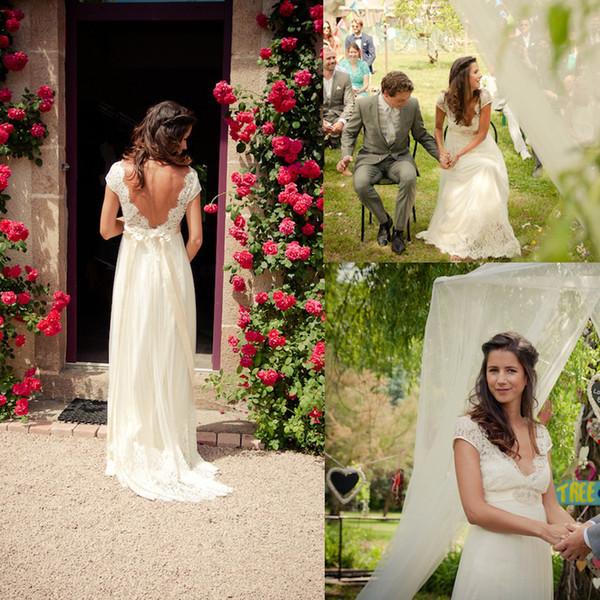2015 Backless Lace Chiffon Garden Wedding Dresses Pregnant Empire V Neck Beads Sash Summer Spring Beach Bridal Maternity Gowns Custom Sheer