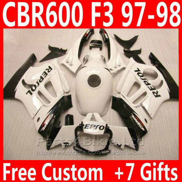 REPSOL black white body motorcycle parts for Honda 1997 1998 CBR 600 F3 fairing kit CBR600F3 Custom fairings CBR600 F3 95 96 CGIS