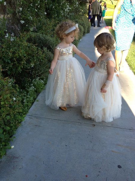 Gold Sequins Cute Tank Flower Girl Dresses With 2 Layers Tulle Little Baby Girl Dress Dazzling Spaghetti