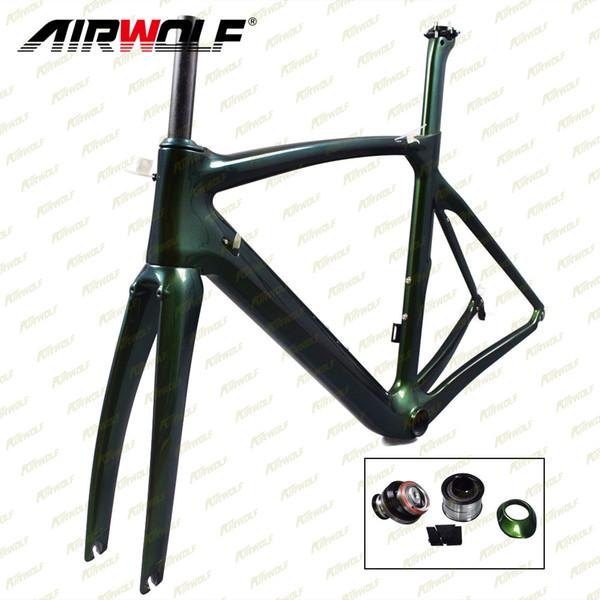 Airwolf 2018 carbon bike chameleon frame matte or glossy finish Carbon frames best BB386 Carbon frame road bikes china