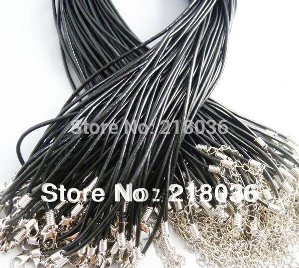 100 PCS Réel Ras Du Cou En Cuir Noir Corde Déclaration Pour Les Femmes Collier Fit Perles Européennes Charmes Filles Bijoux 24 pouces DIY Bijoux M2037
